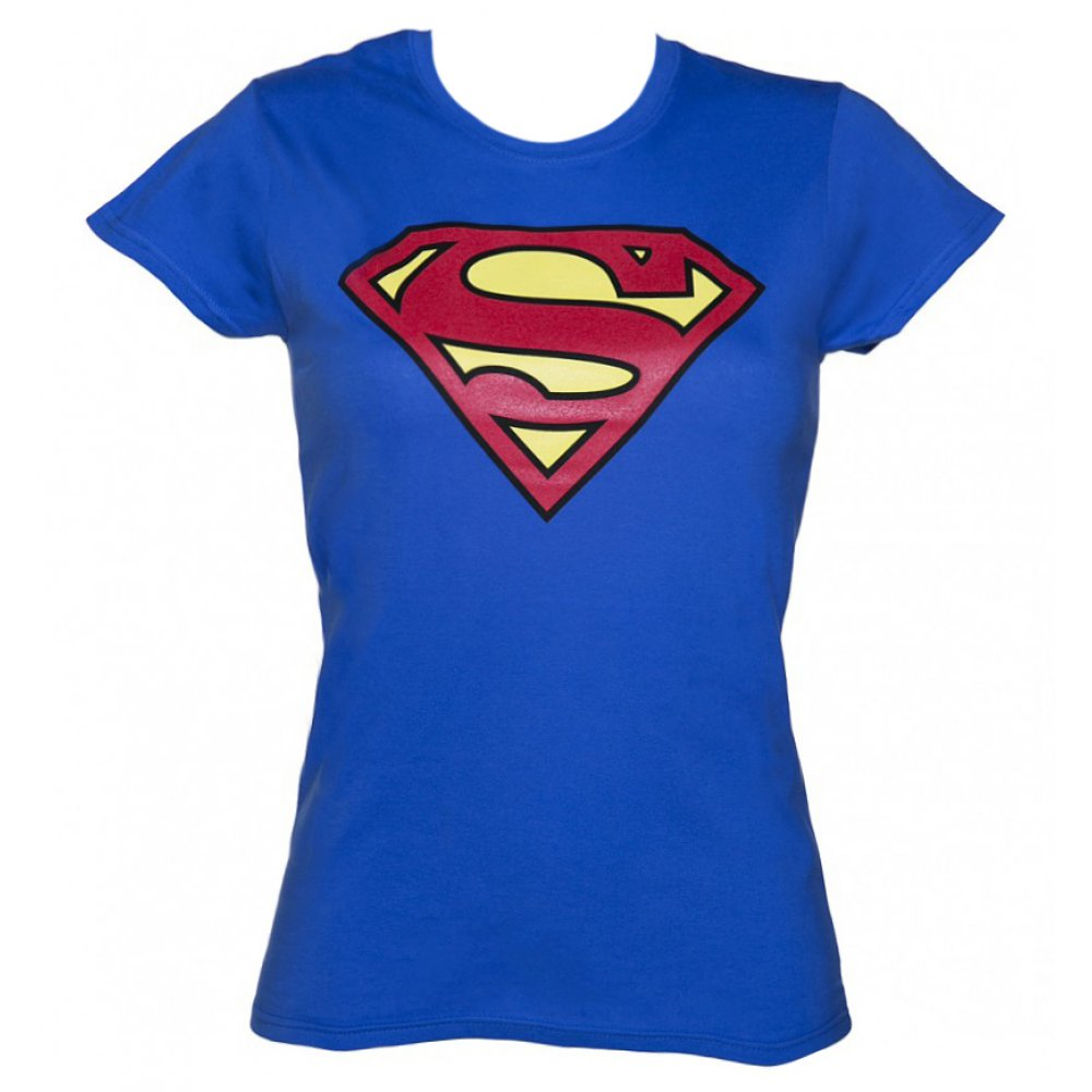 superman damen t shirt girlie supergirl classic logo blau x comi. Black Bedroom Furniture Sets. Home Design Ideas