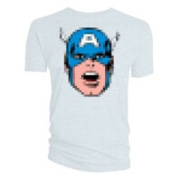 Captain America T-Shirt - Captain America Pixel Kopf (weiss)