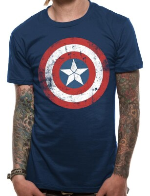 Captain America T-Shirt - Captain America Distressed Shield (navy)