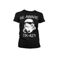 Star Wars Damen T-Shirt (Girlie): Be aware T-421 Trooper...