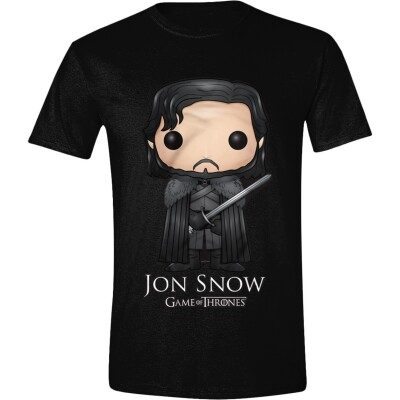 Game of Thrones T-Shirt - Funko Pop Art Jon Snow (schwarz) L