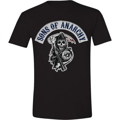 Sons of Anarchy T-Shirt - Logo Patch Blue Font (schwarz) S