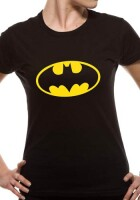 Batman Damen T-Shirt (Girlie): Batman classic Logo (schwarz)