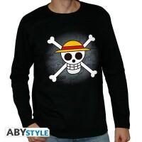 One Piece Langarm T-Shirt - Skull with map (schwarz)