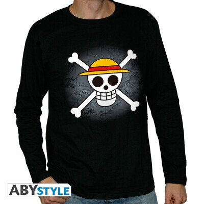 One Piece Langarm T-Shirt - Skull with map (schwarz) L