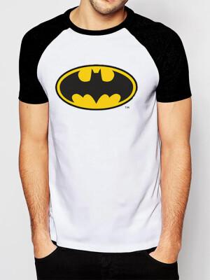 Batman T Shirt Batman Logo Raglan Weiss