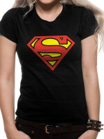 Superman Damen T-Shirt (Girlie): Supergirl Logo (schwarz)