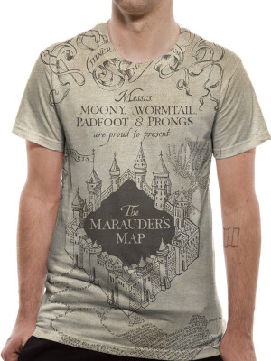 Harry Potter T-Shirt - Marauders Map Sublimated (beige)