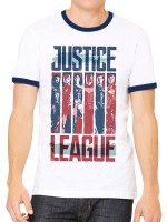 Justice League Movie T-Shirt - Stripes Ringer (weiß)