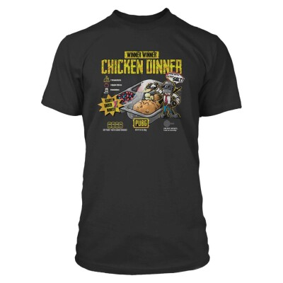 Playerunknowns Battlegrounds (PUBG) T-Shirt - Chicken Dinner Cuisine (schwarz) XL