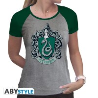 Harry Potter Damen T-Shirt (Girlie): Slytherin Wappen (grau)