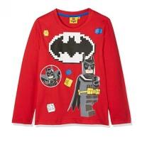 LEGO Batman Kinder Langarm-Shirt - Brick Bat Signal (rot)