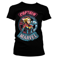 Captain Marvel Damen T-Shirt - Patch (schwarz)