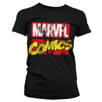 Marvel Comics Damen T-Shirt - Retro Logo Distressed...