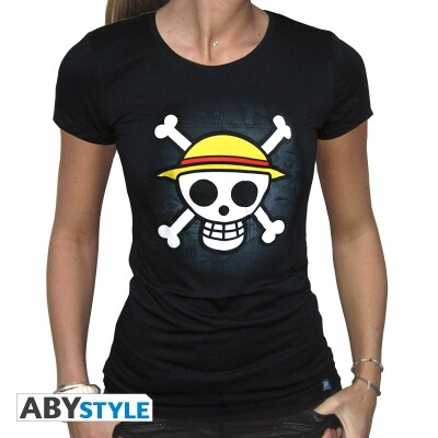 One Piece Damen T-Shirt (Girlie) - Skull with Map (schwarz)
