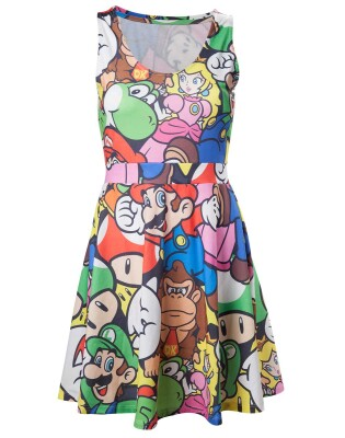 Super Mario Kleid (Damen): Allover Mario Characters (fullprint) XS