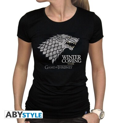 Game of Thrones Damen T-Shirt (Girlie) - House Stark Winter is coming (schwarz) M