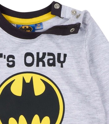 Batman Kleinkinder Langarmshirt - Its okay Im Batman (grau meliert) 92 (24 Monate)