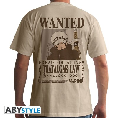 One Piece T-Shirt - Wanted Trafalgar Law (beige) L