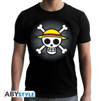 One Piece T-Shirt - Skull with map (schwarz)
