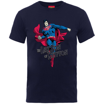 Superman Jugend Youth T-Shirt - Last Son of Krypton (navy) L (9-11 Jahre)