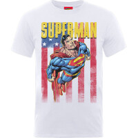 Superman Jugend Youth T-Shirt - Flag Flight (weiß)
