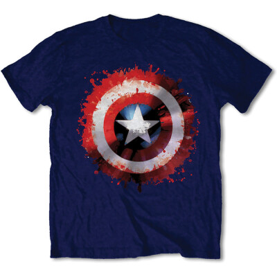 Captain America T-Shirt - Captain America Splat Shield (navy)