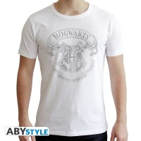Harry Potter T-Shirt - Hogwarts Wappen (weiß)