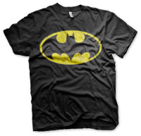 Batman T-Shirt - Distressed Logo (schwarz)