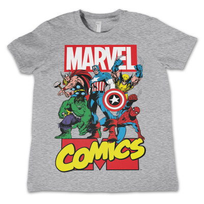 Marvel Comics Jugend Youth T-Shirt - Heroes (grau) S (5-6 Jahre)