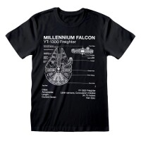 Star Wars T-Shirt - Millenium Falcon Sketch (schwarz)