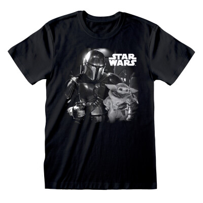 Star Wars T-Shirt - The Mandalorian Baby Yoda BW Photo (schwarz) L