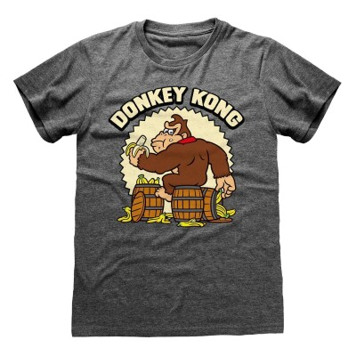 Donkey Kong T-Shirt - Banana Barrel grau)