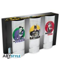 DC Comics Trinkglas 3er Set: Batman, Joker, Harley (290 ml)