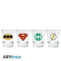 DC Comics Schnapsglas 4er Set: Emblem (5 cl)