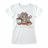 Pusheen Damen T-Shirt (Girlie): Eat Dessert First?