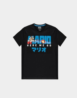 Super Mario T-Shirt - Fire Mario (schwarz) M