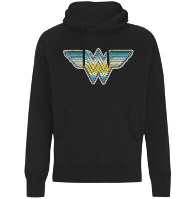 Wonder Woman Kapuzenpullover (Girlie): Airbrush Logo (schwarz) L