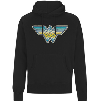 Wonder Woman Kapuzenpullover (Girlie): Airbrush Logo (schwarz) XL