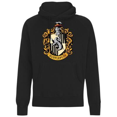 Harry Potter Kapuzenpullover : Hufflepuff Crest (schwarz) XL