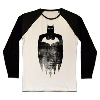 Batman T-Shirt (Raglan) : Sketch Silhouette (schwarz/weiß) XL