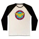 Wonder Woman T-Shirt (Raglan) : Circle Classic Logo (schwarz/weiß)
