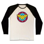 Wonder WomanT-Shirt (Raglan) : Circle Classic Logo (schwarz/weiß) M