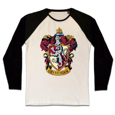 Harry Potter Baseball T-Shirt (Raglan) : Gryffindor Crest (schwarz/weiß) S