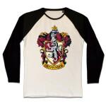Harry Potter Baseball T-Shirt (Raglan) : Gryffindor Crest (schwarz/weiß) XL