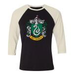 Harry Potter Baseball T-Shirt (Raglan) : Slytherin Crest (schwarz/weiß) S