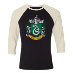 Harry Potter Baseball T-Shirt (Raglan) : Slytherin Crest (schwarz/weiß) L