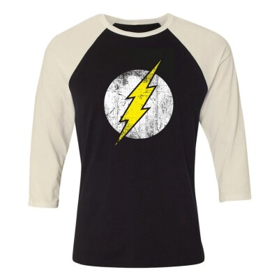 DC Comics Baseball T-Shirt (Raglan) : Flash Logo (schwarz/weiß)