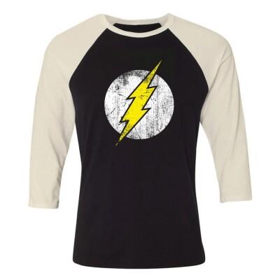 DC Comics Baseball T-Shirt (Raglan) : Flash Logo (schwarz/weiß) L
