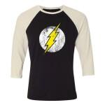 DC Comics Baseball T-Shirt (Raglan) : Flash Logo (schwarz/weiß) XL